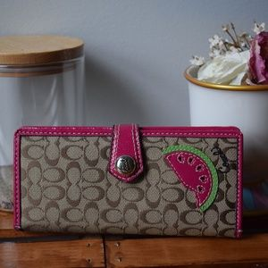Coach Mini Signature C Slim Watermelon Wallet